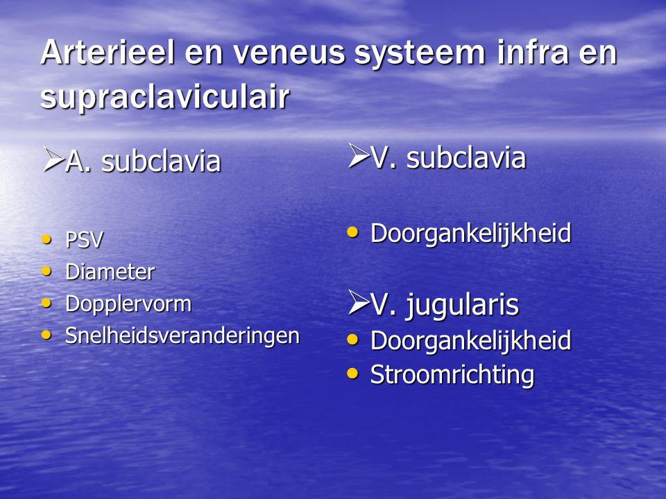 Arterieel en veneus systeem infra en supraclaviculair  A. subclavia PSV PSV Diameter Diameter Dopplervorm Dopplervorm Snelheidsveranderingen Snelheid