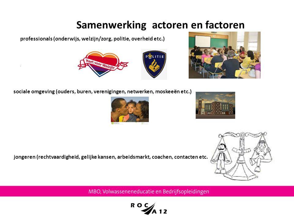 Samenwerking actoren en factoren. professionals (onderwijs, welzijn/zorg, politie, overheid etc.) sociale omgeving (ouders, buren, verenigingen, netwe