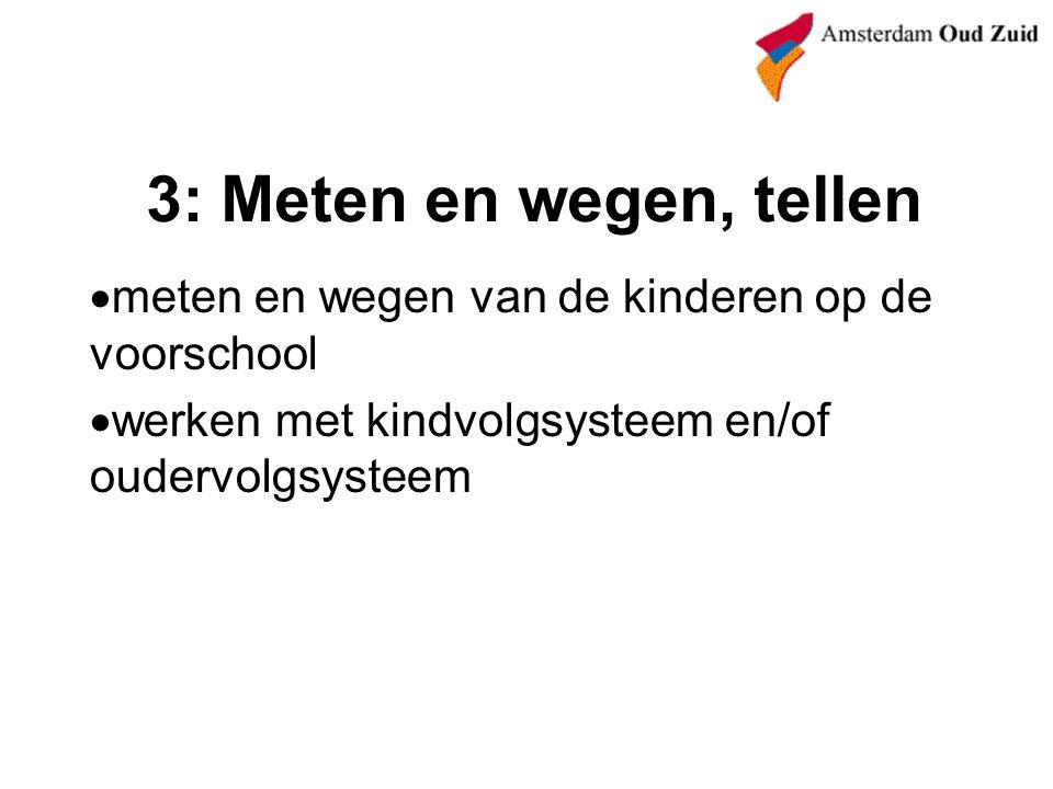 3: Meten en wegen, tellen  meten en wegen van de kinderen op de voorschool  werken met kindvolgsysteem en/of oudervolgsysteem