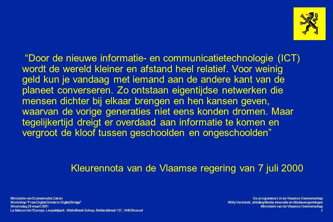 "Workshop ""From Digital Divide to Digital Bridge"" Woensdag 28 maart 2001 La Maison de l'Europe, Leopoldpark - Bibliotheek Solvay, Belliardstraat 137, 1"