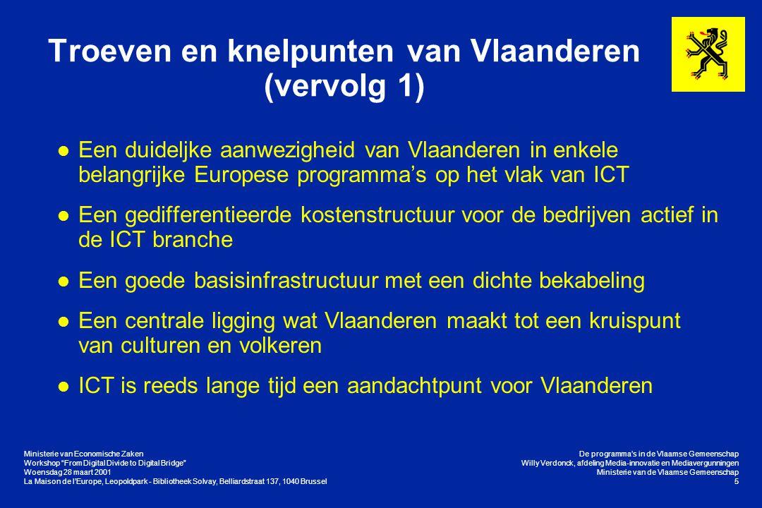 """Ministerie van Economische Zaken Workshop """"From Digital Divide to Digital Bridge"""" Woensdag 28 maart 2001 La Maison de l'Europe, Leopoldpark - Biblioth"""