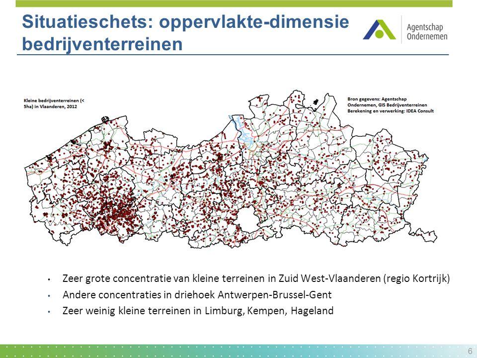  Ligging kleine terreinen (< 5ha) Zeer grote concentratie van kleine terreinen in Zuid West-Vlaanderen (regio Kortrijk) Andere concentraties in drieh