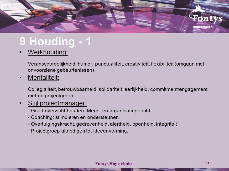 Fontys Hogescholen12 9 Houding - 1 Werkhouding: Verantwoordelijkheid, humor, punctualiteit, creativiteit, flexibiliteit (omgaan met onvoorziene gebeur