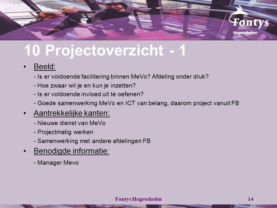 Fontys Hogescholen14 10 Projectoverzicht - 1 Beeld: - Is er voldoende facilitering binnen MeVo? Afdeling onder druk? - Hoe zwaar wil je en kun je inze