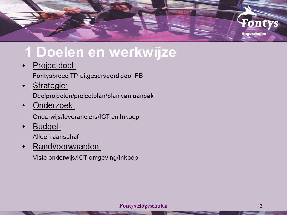 Fontys Hogescholen2 1 Doelen en werkwijze Projectdoel: Fontysbreed TP uitgeserveerd door FB Strategie: Deelprojecten/projectplan/plan van aanpak Onder