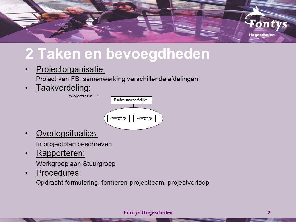 Fontys Hogescholen3 2 Taken en bevoegdheden Projectorganisatie: Project van FB, samenwerking verschillende afdelingen Taakverdeling: projectteam → Ove