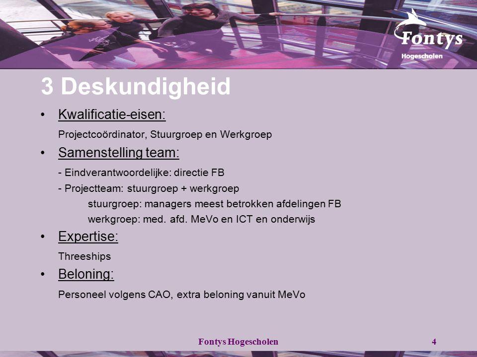 Fontys Hogescholen4 3 Deskundigheid Kwalificatie-eisen: Projectcoördinator, Stuurgroep en Werkgroep Samenstelling team: - Eindverantwoordelijke: direc