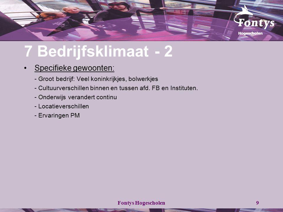 Fontys Hogescholen9 7 Bedrijfsklimaat - 2 Specifieke gewoonten: - Groot bedrijf: Veel koninkrijkjes, bolwerkjes - Cultuurverschillen binnen en tussen