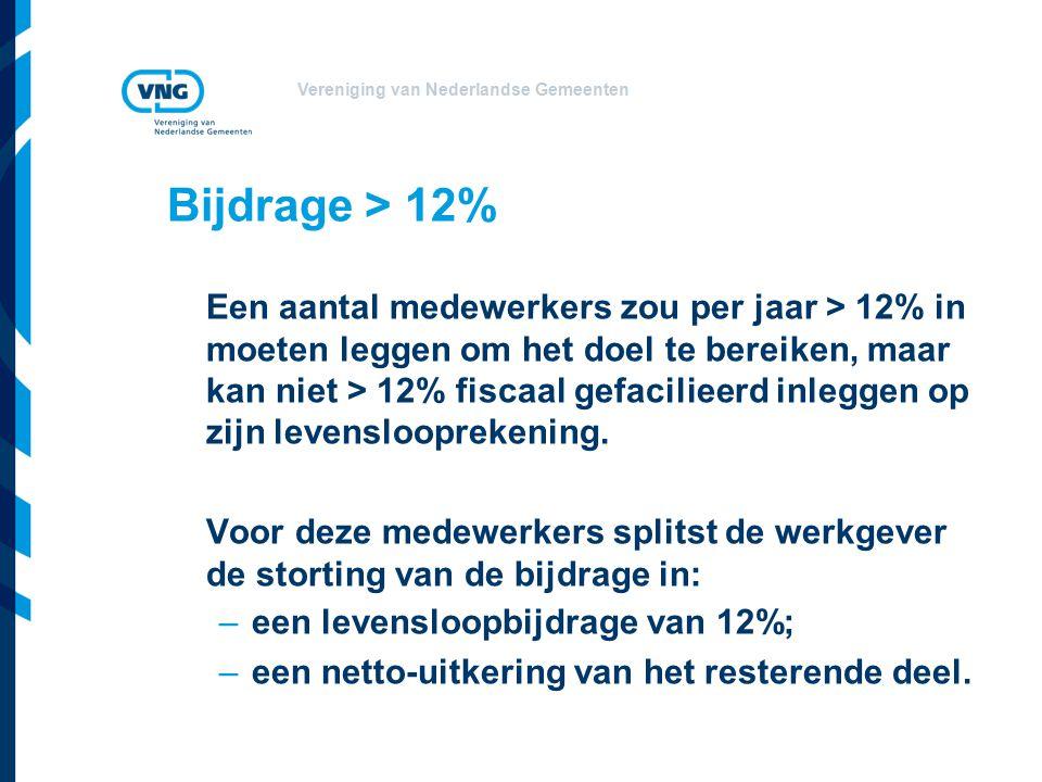Vereniging van Nederlandse Gemeenten Bijdrage > 12% Een aantal medewerkers zou per jaar > 12% in moeten leggen om het doel te bereiken, maar kan niet > 12% fiscaal gefacilieerd inleggen op zijn levenslooprekening.