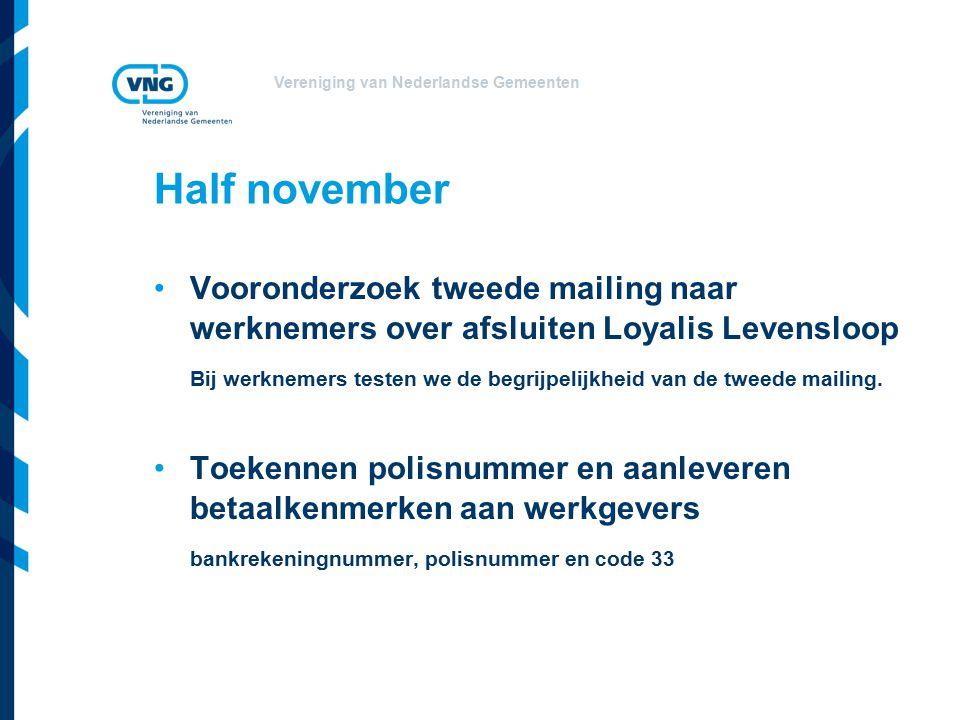 Vereniging van Nederlandse Gemeenten Half november Vooronderzoek tweede mailing naar werknemers over afsluiten Loyalis Levensloop Bij werknemers testen we de begrijpelijkheid van de tweede mailing.