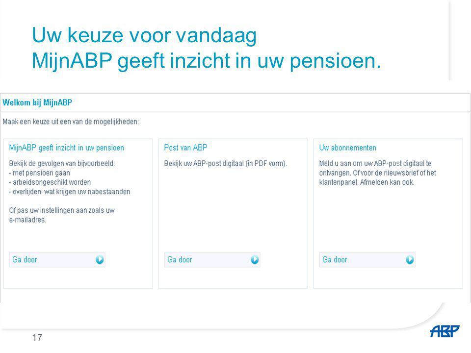 Wat vindt u waar op Mijn ABP 18 Keuzepensioen Pensioen voor de partner Huidig inkomen Pensioenkeuzes o.a.