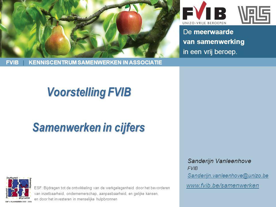 FVIB | KENNISCENTRUM SAMENWERKEN IN ASSOCIATIE De meerwaarde van samenwerking in een vrij beroep. ESF: Bijdragen tot de ontwikkeling van de werkgelege