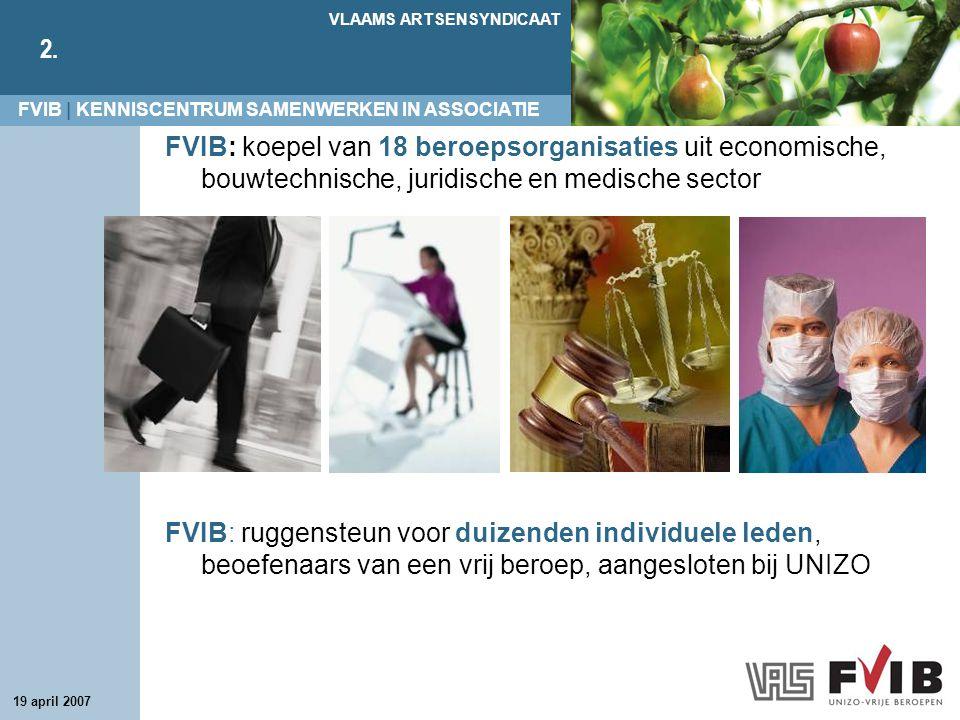 FVIB | KENNISCENTRUM SAMENWERKEN IN ASSOCIATIE VLAAMS ARTSENSYNDICAAT 2. 19 april 2007 FVIB: koepel van 18 beroepsorganisaties uit economische, bouwte