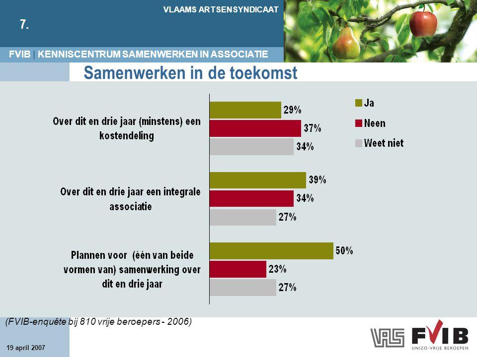 FVIB | KENNISCENTRUM SAMENWERKEN IN ASSOCIATIE VLAAMS ARTSENSYNDICAAT 7. 19 april 2007 Samenwerken in de toekomst (FVIB-enquête bij 810 vrije beroeper