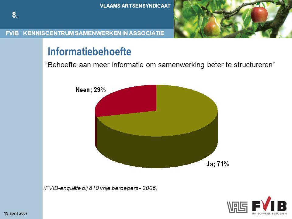 FVIB | KENNISCENTRUM SAMENWERKEN IN ASSOCIATIE VLAAMS ARTSENSYNDICAAT 8. 19 april 2007 Informatiebehoefte (FVIB-enquête bij 810 vrije beroepers - 2006