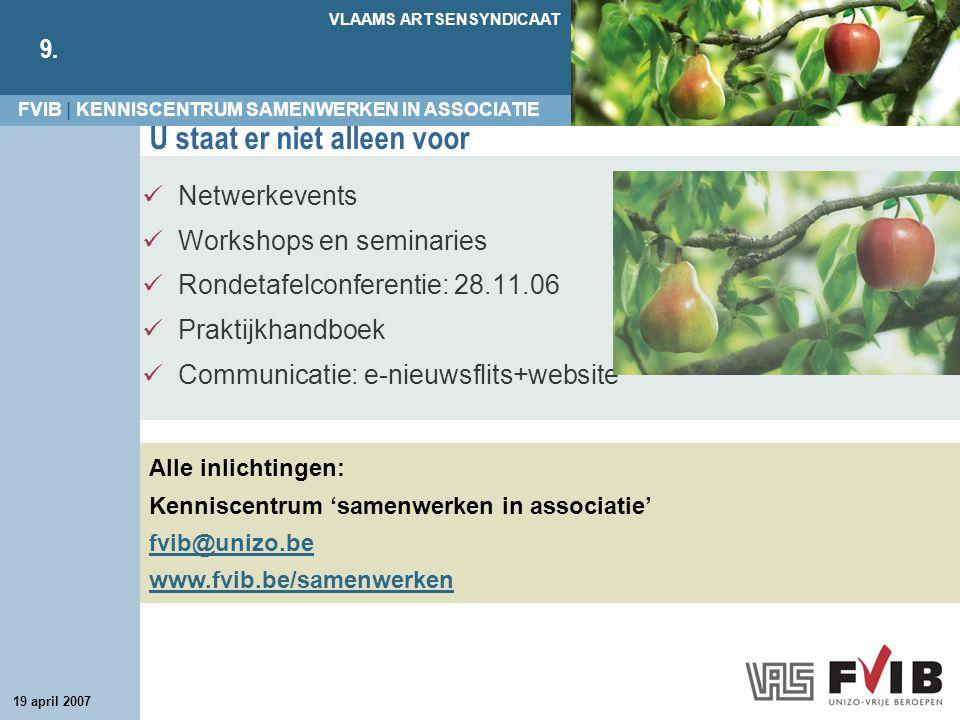 FVIB | KENNISCENTRUM SAMENWERKEN IN ASSOCIATIE VLAAMS ARTSENSYNDICAAT 9. 19 april 2007 U staat er niet alleen voor Netwerkevents Workshops en seminari