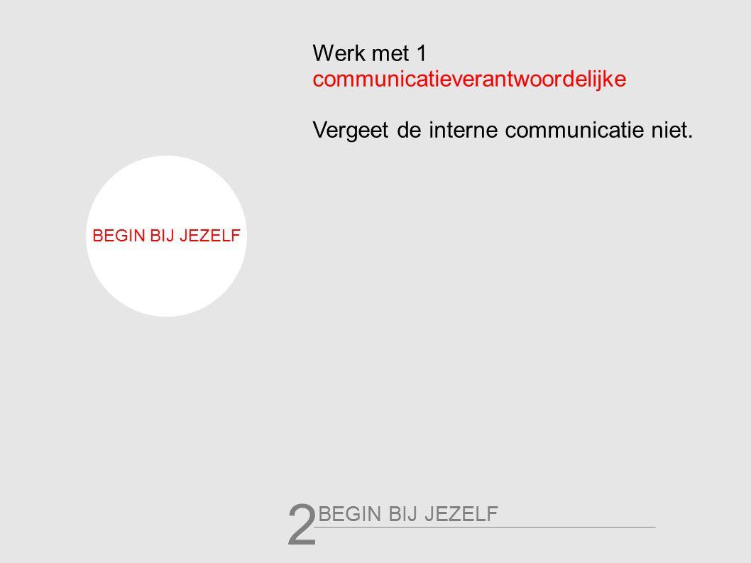 Werk met 1 communicatieverantwoordelijke Vergeet de interne communicatie niet. BEGIN BIJ JEZELF 2