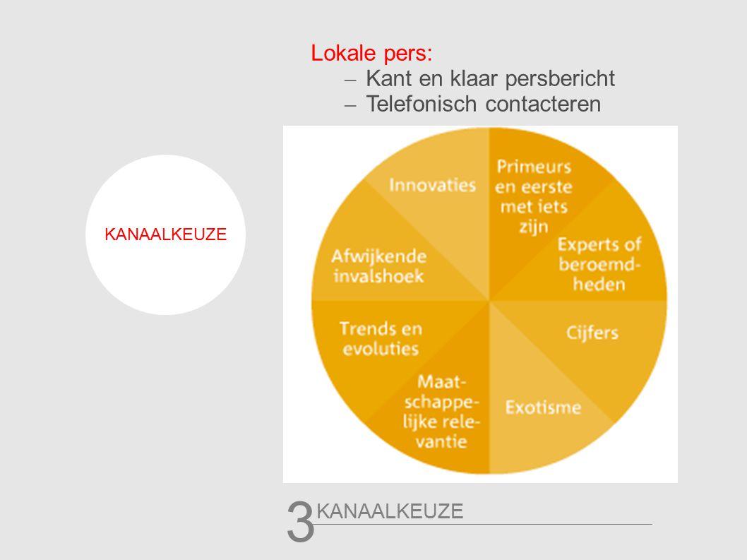KANAALKEUZE 3 Lokale pers: – Kant en klaar persbericht – Telefonisch contacteren