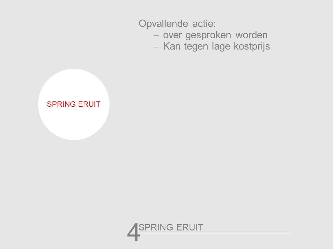 Opvallende actie: – over gesproken worden – Kan tegen lage kostprijs SPRING ERUIT 4