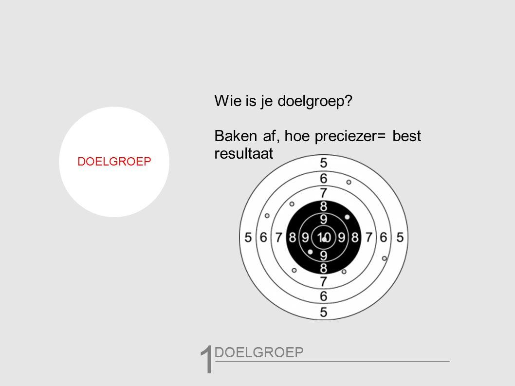 Wie is je doelgroep Baken af, hoe preciezer= best resultaat DOELGROEP 1