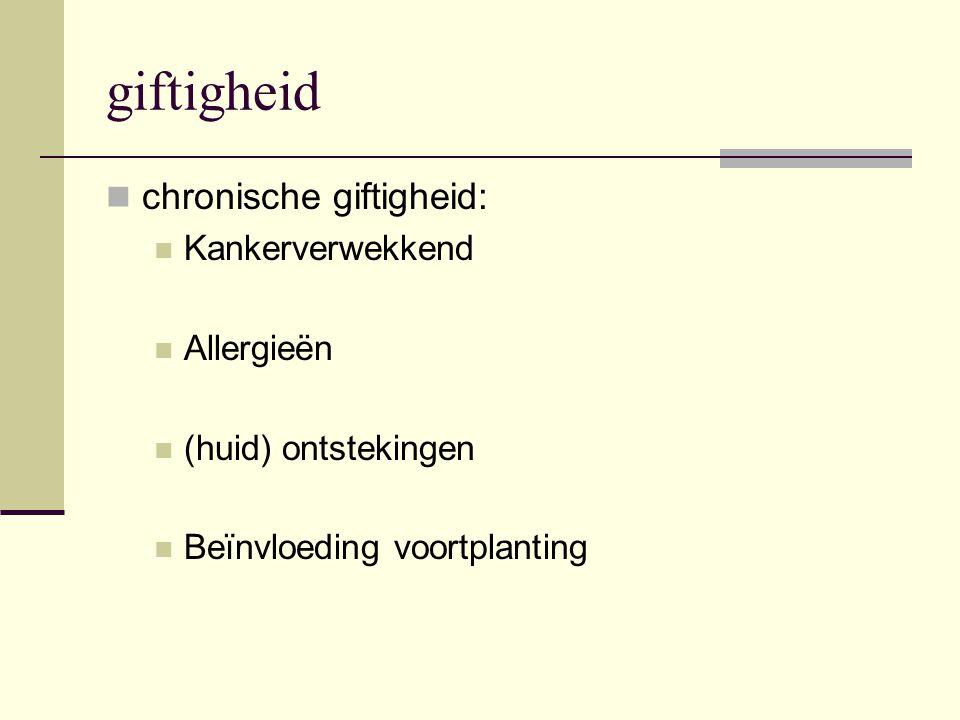 giftigheid chronische giftigheid: Kankerverwekkend Allergieën (huid) ontstekingen Beïnvloeding voortplanting