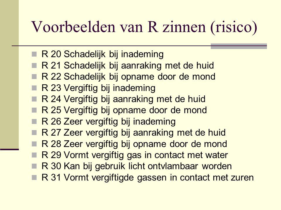 Voorbeelden van R zinnen (risico) R 20 Schadelijk bij inademing R 21 Schadelijk bij aanraking met de huid R 22 Schadelijk bij opname door de mond R 23