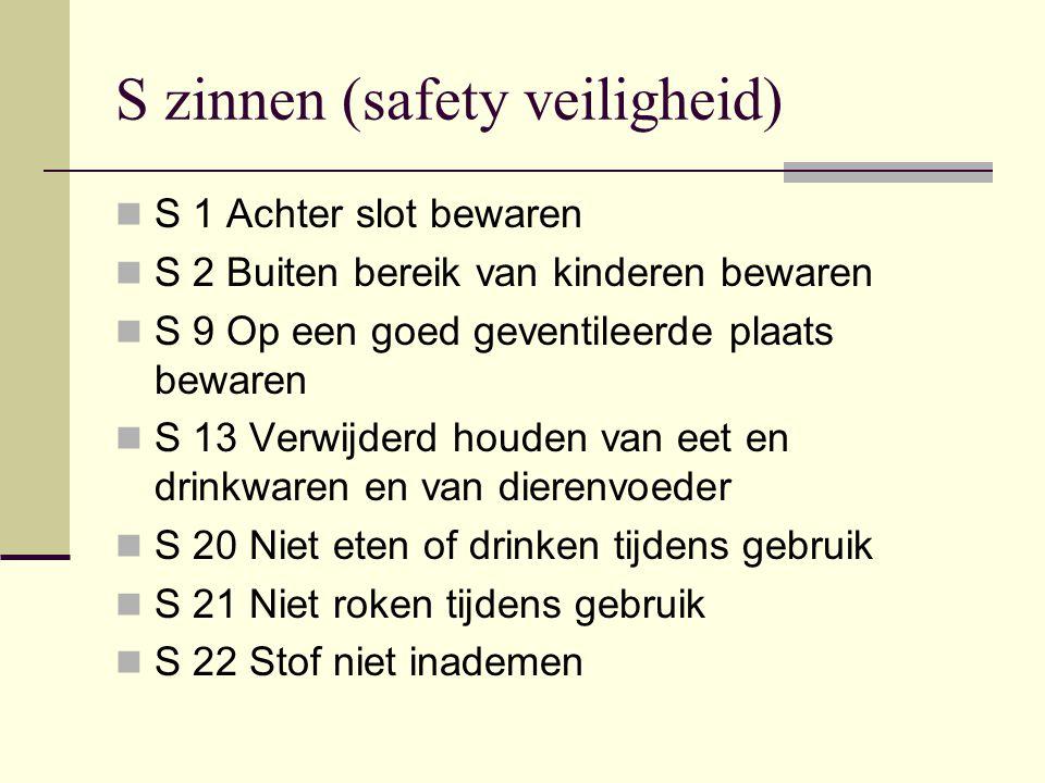 S zinnen (safety veiligheid) S 1 Achter slot bewaren S 2 Buiten bereik van kinderen bewaren S 9 Op een goed geventileerde plaats bewaren S 13 Verwijde