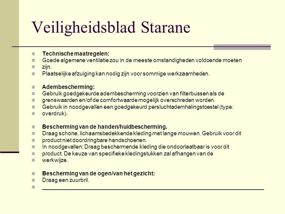 Veiligheidsblad Starane Technische maatregelen: Goede algemene ventilatie zou in de meeste omstandigheden voldoende moeten zijn. Plaatselijke afzuigin