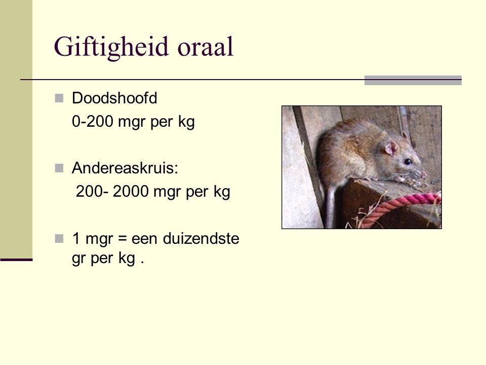 Giftigheid oraal Doodshoofd 0-200 mgr per kg Andereaskruis: 200- 2000 mgr per kg 1 mgr = een duizendste gr per kg.