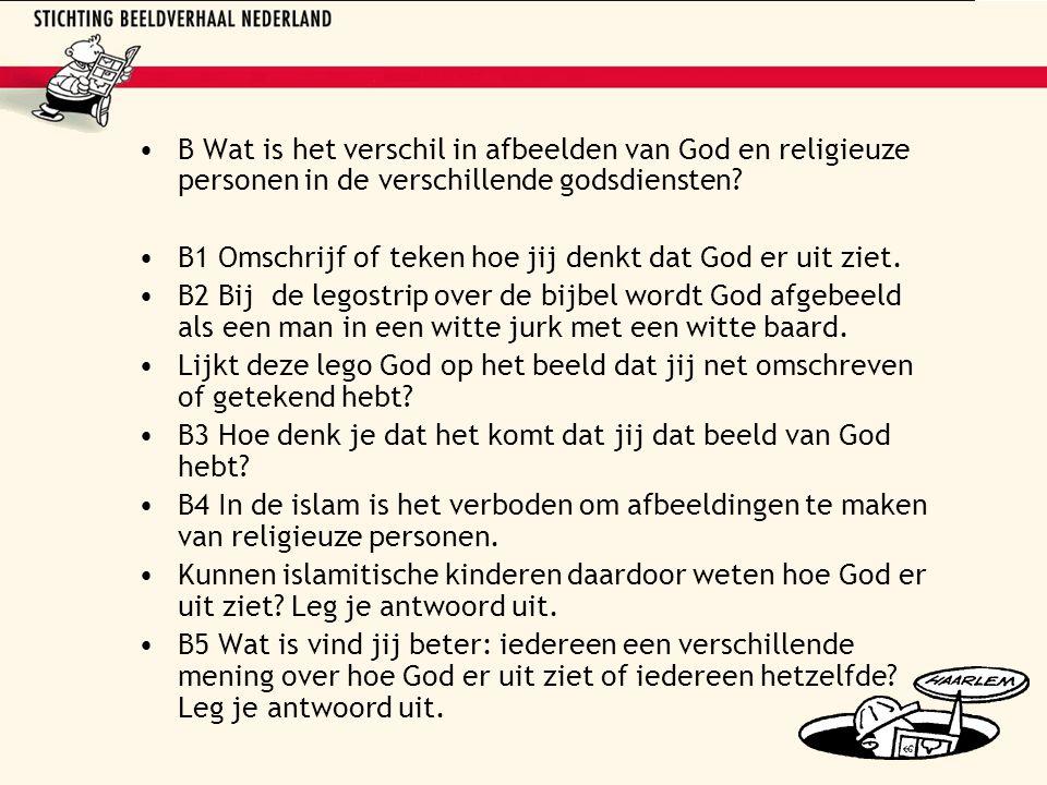 B Wat is het verschil in afbeelden van God en religieuze personen in de verschillende godsdiensten.