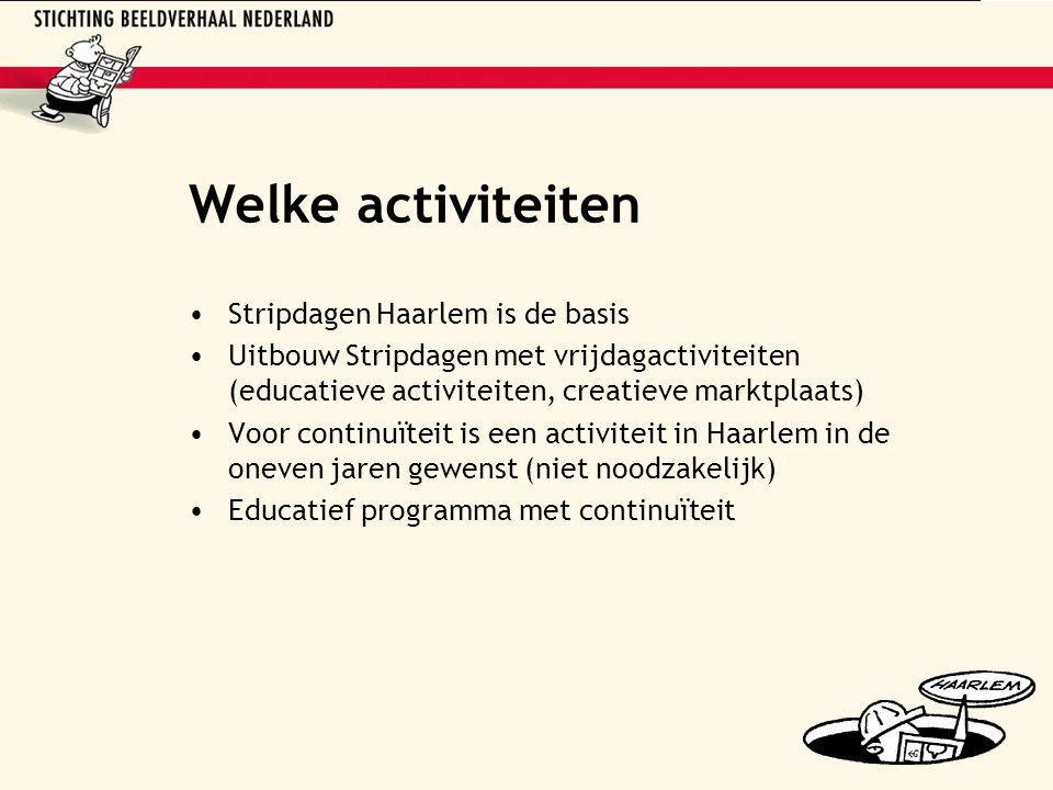 Welke activiteiten Stripdagen Haarlem is de basis Uitbouw Stripdagen met vrijdagactiviteiten (educatieve activiteiten, creatieve marktplaats) Voor continuïteit is een activiteit in Haarlem in de oneven jaren gewenst (niet noodzakelijk) Educatief programma met continuïteit