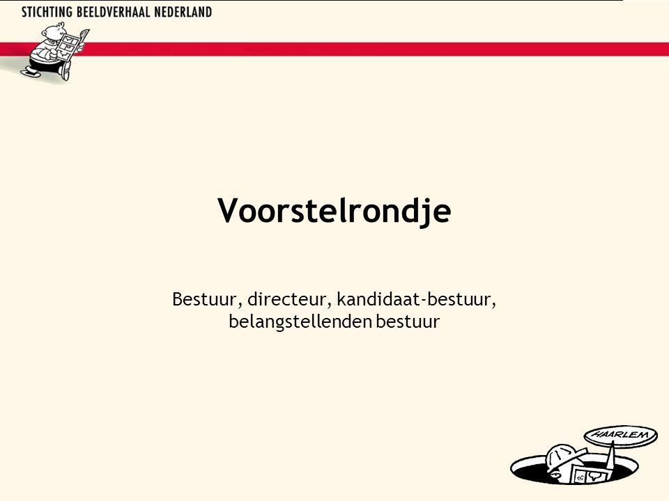 Voorstelrondje Bestuur, directeur, kandidaat-bestuur, belangstellenden bestuur