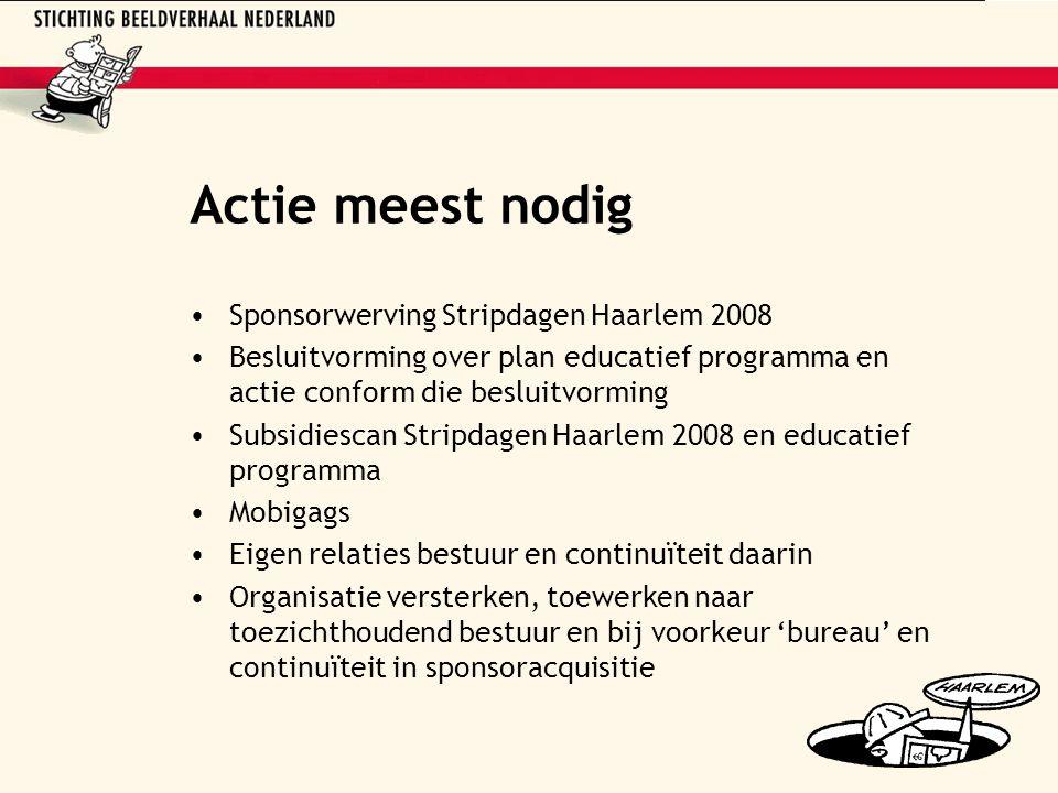 Actie meest nodig Sponsorwerving Stripdagen Haarlem 2008 Besluitvorming over plan educatief programma en actie conform die besluitvorming Subsidiescan
