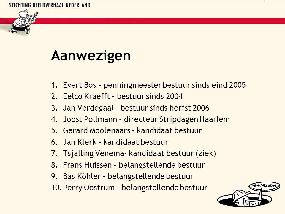 Aanwezigen 1.Evert Bos – penningmeester bestuur sinds eind 2005 2.Eelco Kraefft – bestuur sinds 2004 3.Jan Verdegaal – bestuur sinds herfst 2006 4.Joo