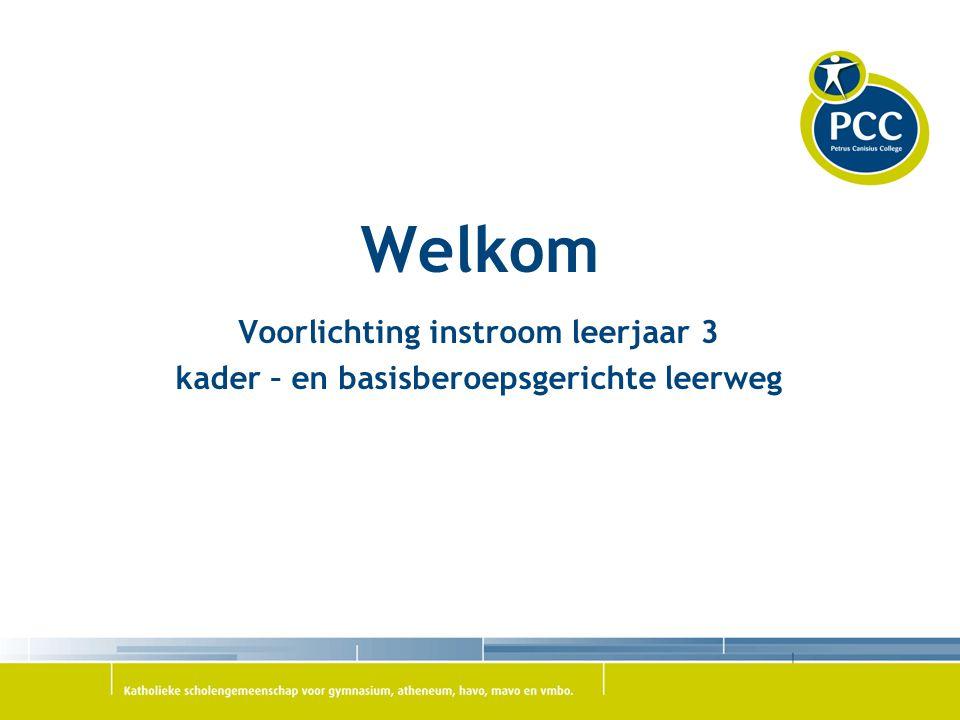 PCC Oosterhout  Basis- en Kaderberoepsgerichte leerweg  Bovenbouw in principe 2 jaar  Start van het examenprogramma (PTA) in november 2015  Klassenindeling volgens afdeling en leerweg.