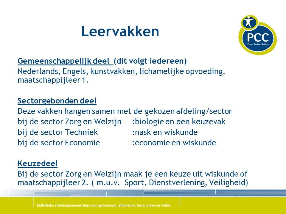 Leervakken Gemeenschappelijk deel (dit volgt iedereen) Nederlands, Engels, kunstvakken, lichamelijke opvoeding, maatschappijleer 1. Sectorgebonden dee