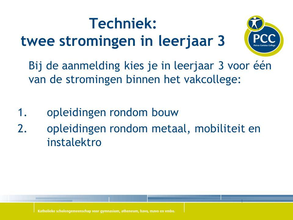 Techniek: twee stromingen in leerjaar 3 Bij de aanmelding kies je in leerjaar 3 voor één van de stromingen binnen het vakcollege: 1.opleidingen rondom