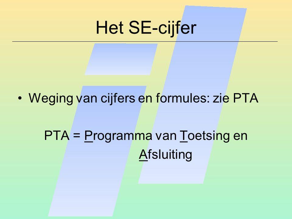 Het SE-cijfer Weging van cijfers en formules: zie PTA PTA = Programma van Toetsing en Afsluiting