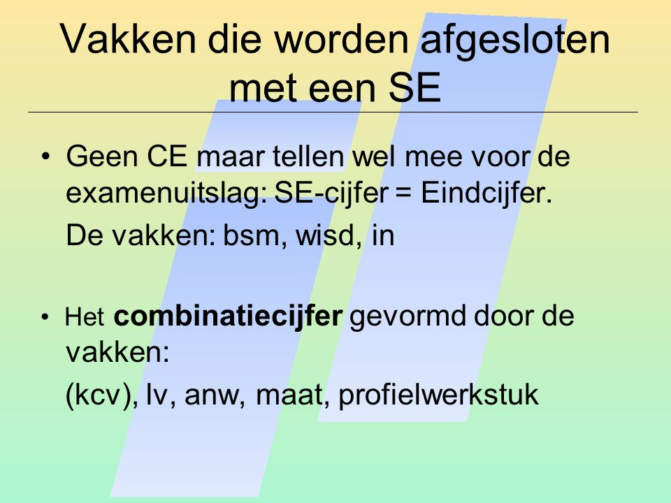 Vakken die worden afgesloten met een SE Geen CE maar tellen wel mee voor de examenuitslag: SE-cijfer = Eindcijfer. De vakken: bsm, wisd, in Het combin