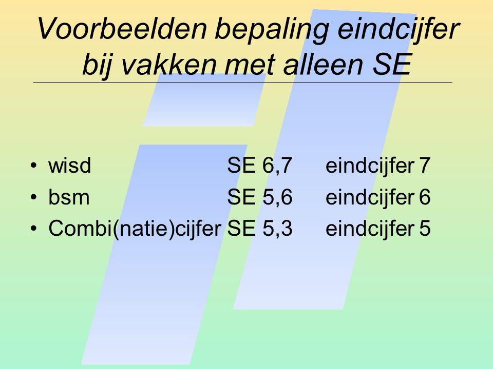 Voorbeelden bepaling eindcijfer bij vakken met alleen SE wisdSE 6,7 eindcijfer 7 bsmSE 5,6eindcijfer 6 Combi(natie)cijferSE 5,3 eindcijfer 5