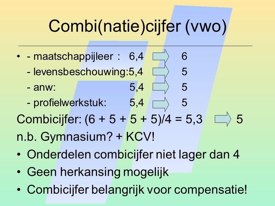 Combi(natie)cijfer (vwo) - maatschappijleer : 6,46 - levensbeschouwing:5,45 - anw: 5,4 5 - profielwerkstuk: 5,4 5 Combicijfer: (6 + 5 + 5 + 5)/4 = 5,3