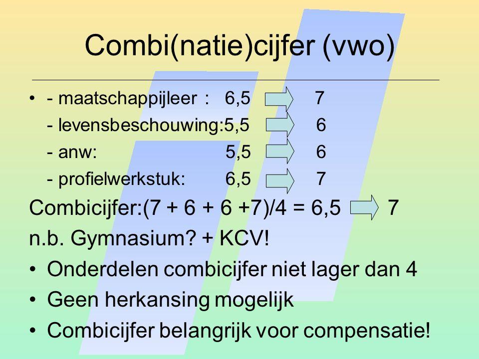 Combi(natie)cijfer (vwo) - maatschappijleer : 6,5 7 - levensbeschouwing:5,56 - anw: 5,5 6 - profielwerkstuk: 6,5 7 Combicijfer:(7 + 6 + 6 +7)/4 = 6,5