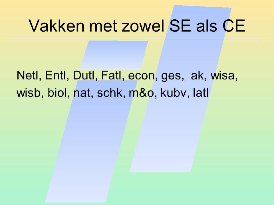 Vakken met zowel SE als CE Netl, Entl, Dutl, Fatl, econ, ges, ak, wisa, wisb, biol, nat, schk, m&o, kubv, latl