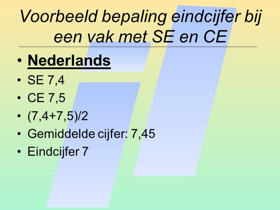 Voorbeeld bepaling eindcijfer bij een vak met SE en CE Nederlands SE 7,4 CE 7,5 (7,4+7,5)/2 Gemiddelde cijfer: 7,45 Eindcijfer 7