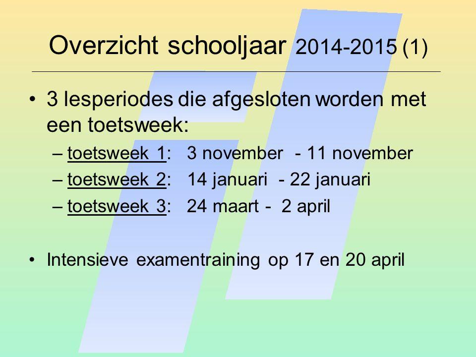 Overzicht schooljaar 2014-2015 (1) 3 lesperiodes die afgesloten worden met een toetsweek: –toetsweek 1: 3 november - 11 november –toetsweek 2: 14 janu