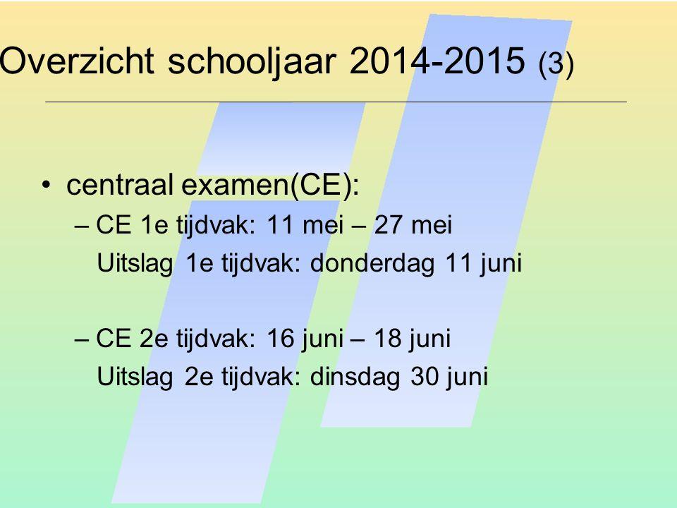 Overzicht schooljaar 2014-2015 (3) centraal examen(CE): –CE 1e tijdvak: 11 mei – 27 mei Uitslag 1e tijdvak: donderdag 11 juni –CE 2e tijdvak: 16 juni