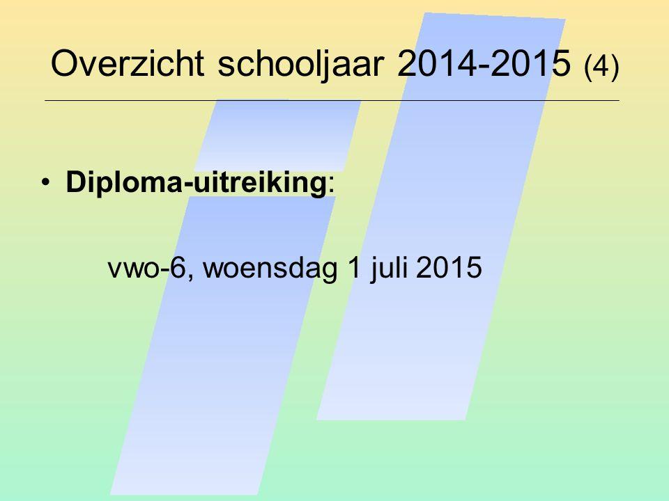 Overzicht schooljaar 2014-2015 (4) Diploma-uitreiking: vwo-6, woensdag 1 juli 2015