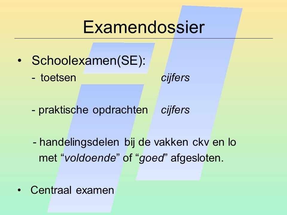 """Examendossier Schoolexamen(SE): -toetsencijfers - praktische opdrachtencijfers - handelingsdelen bij de vakken ckv en lo met """"voldoende"""" of """"goed"""" afg"""