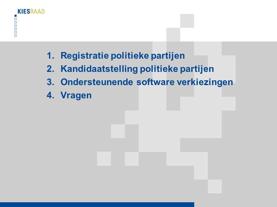 1.Registratie politieke partijen 2.Kandidaatstelling politieke partijen 3.Ondersteunende software verkiezingen 4.Vragen