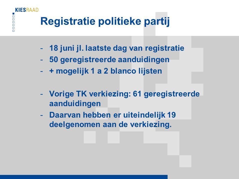 Registratie politieke partij -18 juni jl.